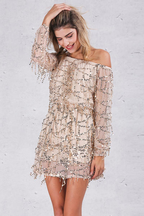 Off The Shoulder Rose Gold Sequin Dress