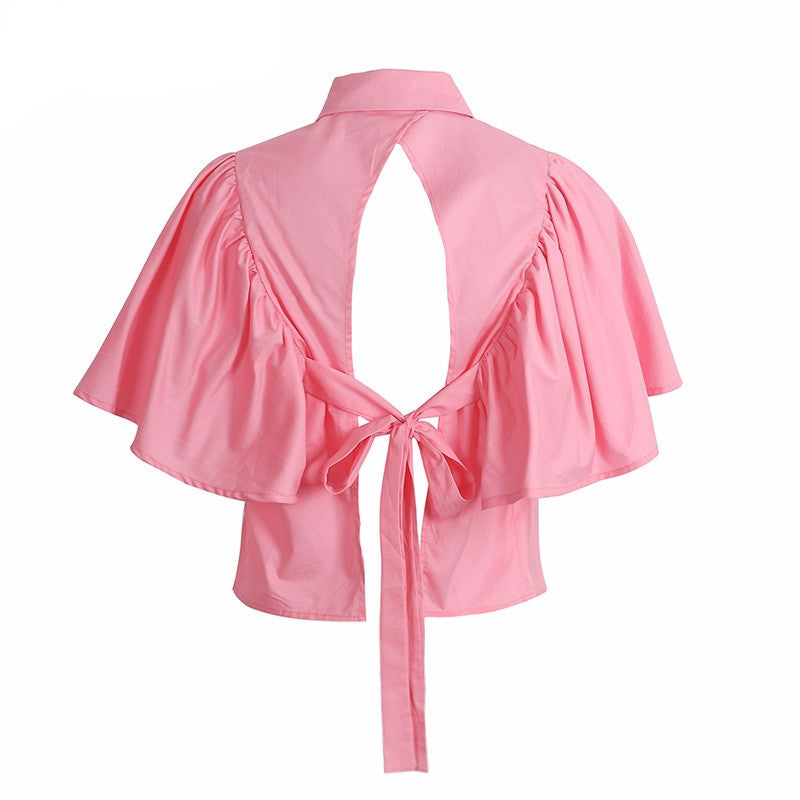 Olivia Ruffled Open Back Blouse