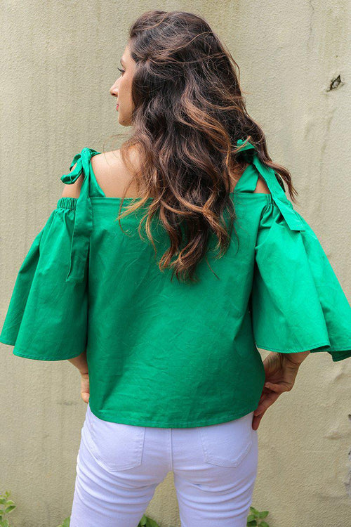 Marta Strap Flare Sleeve Blouse - More Colors Available