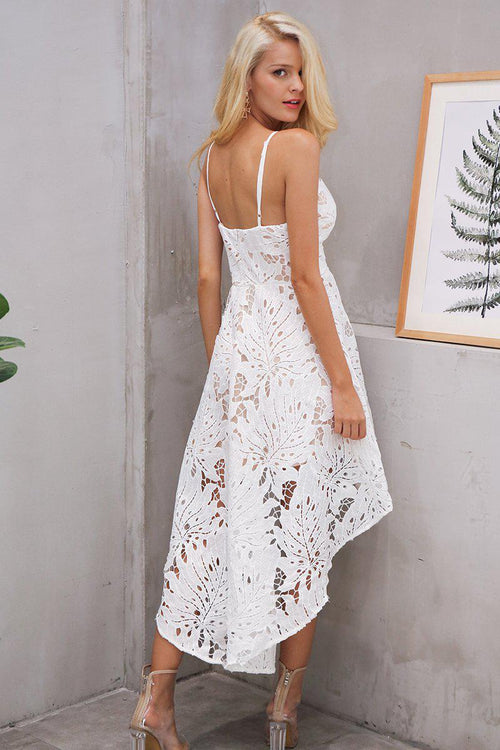 Asymmetrical Floral Lace Dress