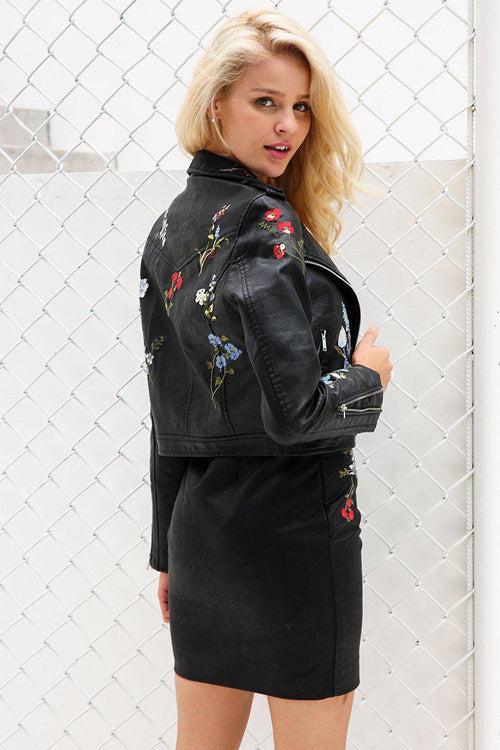 Faux Leather Floral Embroidered Jacket