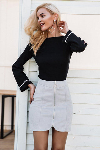 Mid Wash Pearl Embellished Skirt