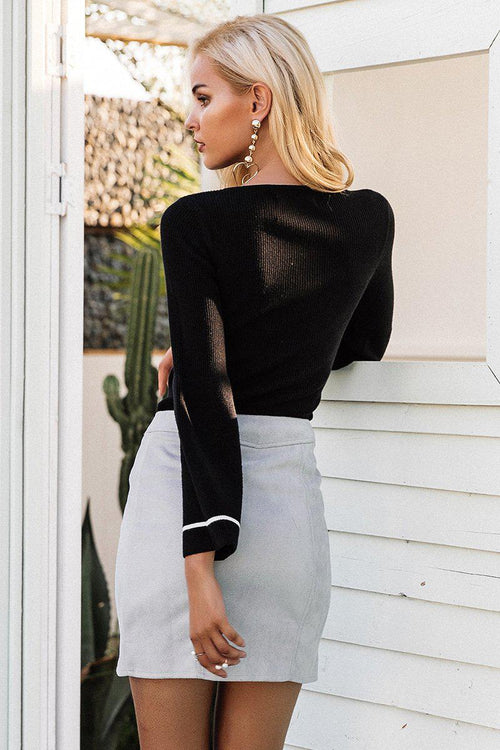 Suede Zipper Pencil Skirt