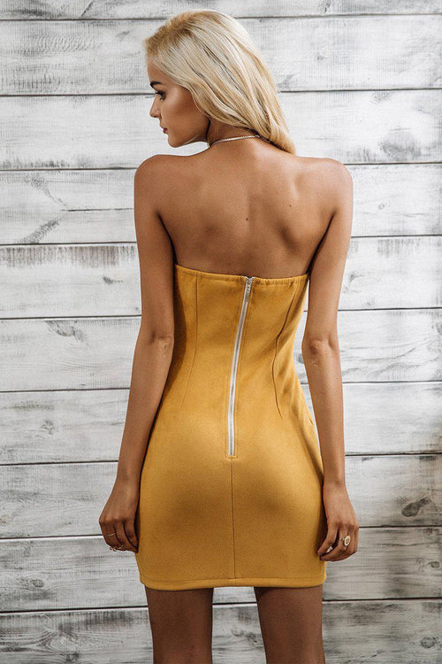 Camel Faux Suede Bardot Dress