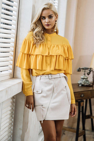 Wrap Ruffle Sleeve Top