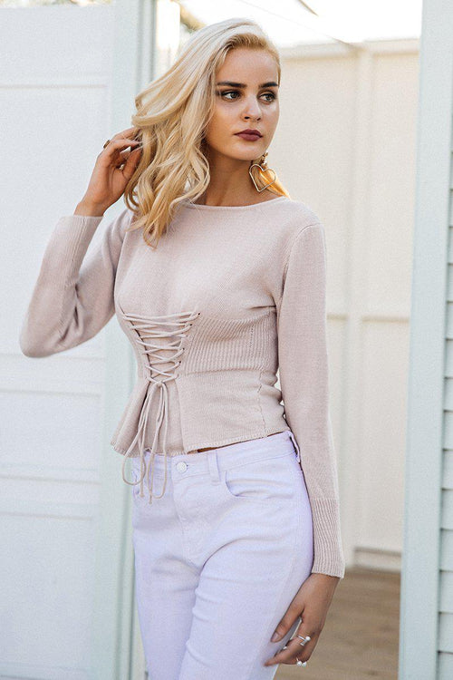 Knit Front Lace-Up Jumper