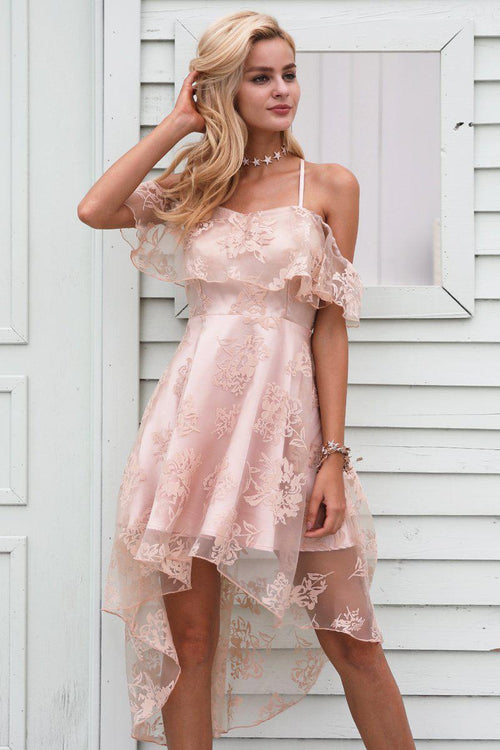 Ruffle Mesh Floral Dress