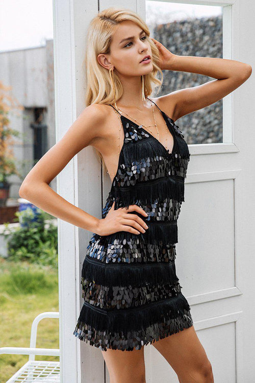 Sequin Fringed Plunge Dress