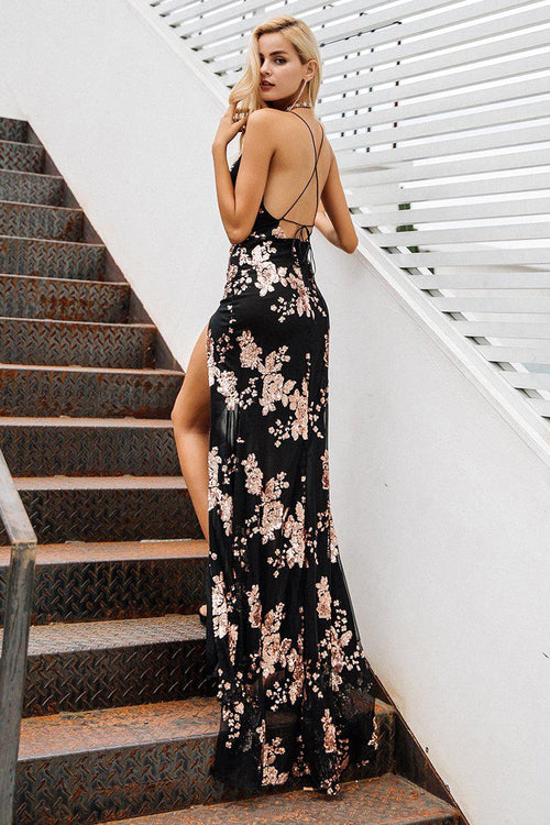 Sequin Plunge High Split Maxi Dress