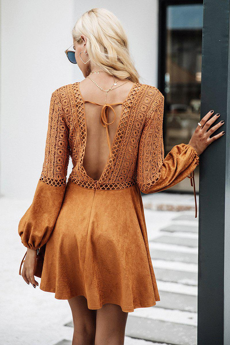 Lacy Suede Dress With Flare Sleeve