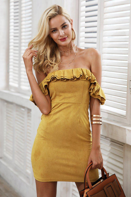 Off Shoulder Suede Ruffle Dress