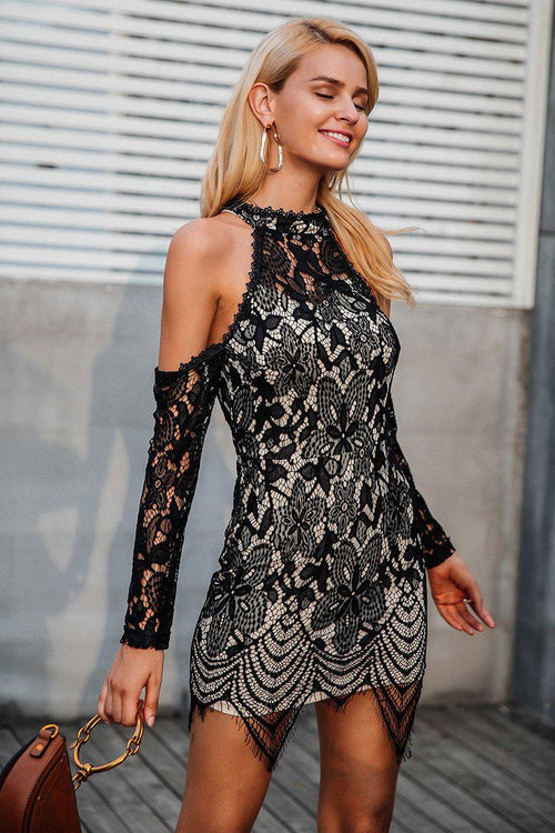 Floral Lace Mesh Sleeve Dress