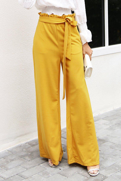 Wide Leg Bow Tie Trousers