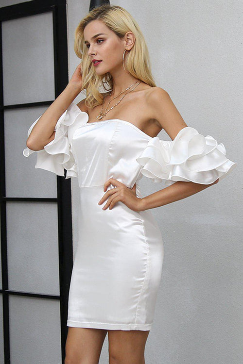 Satin Ruffle Shoulder Dress