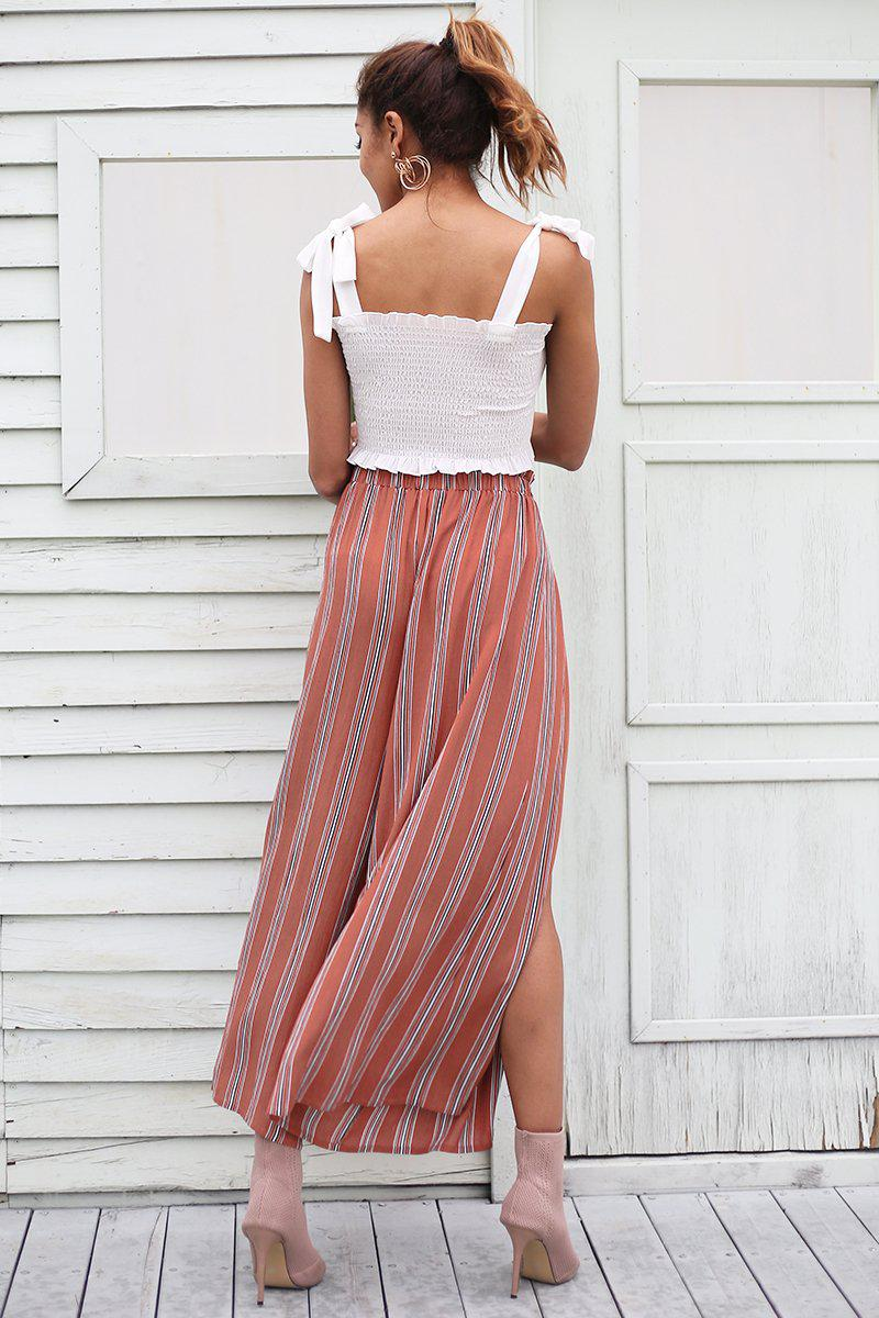 High Split Stripe Trousers