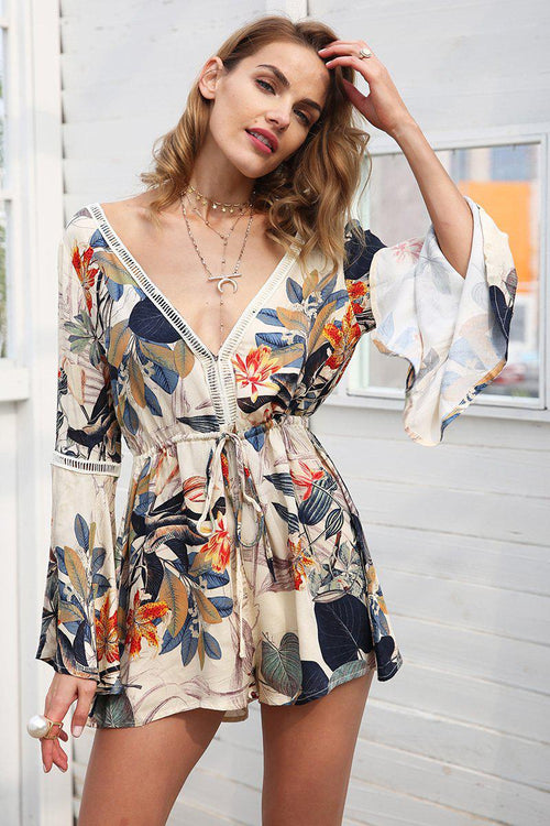 Floral Flare Sleeve Romper