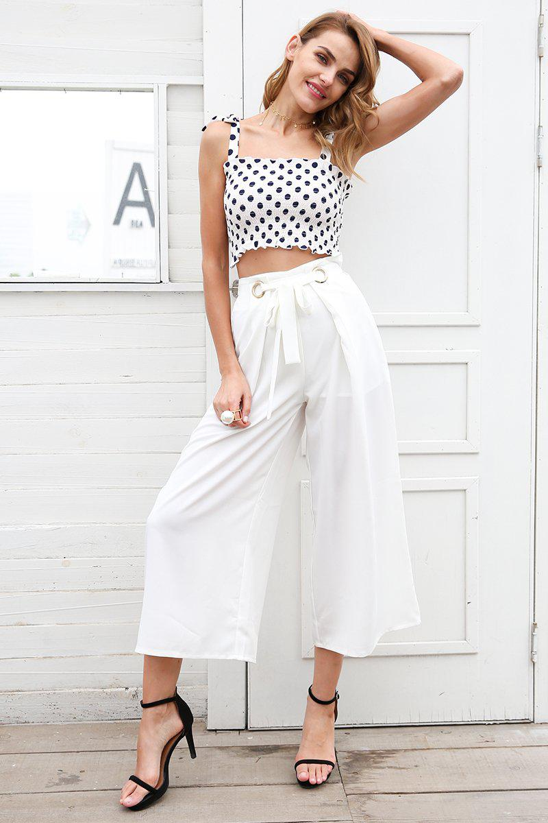 Elasticised Polka Dot Crop Top