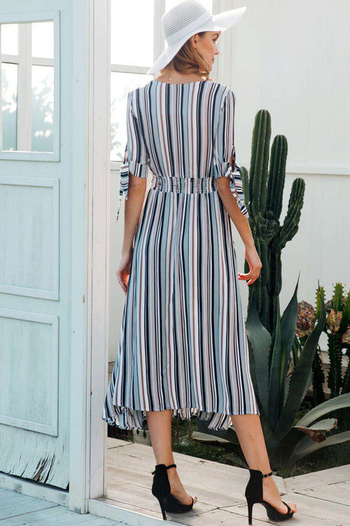 Stripe Front Button Midi Dress