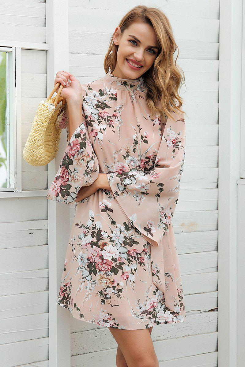 Beige Floral Back Bow Tie Detail Dress