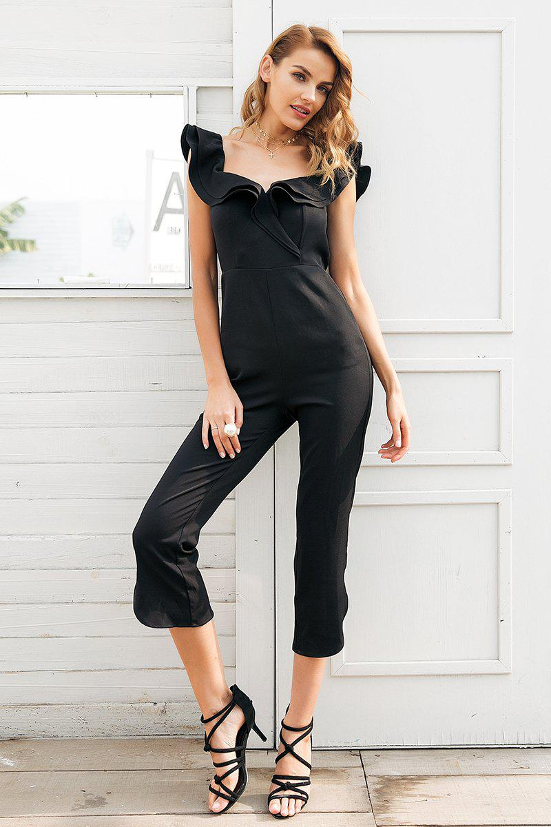 Cold Shoulder Ruffle Jumpsuit
