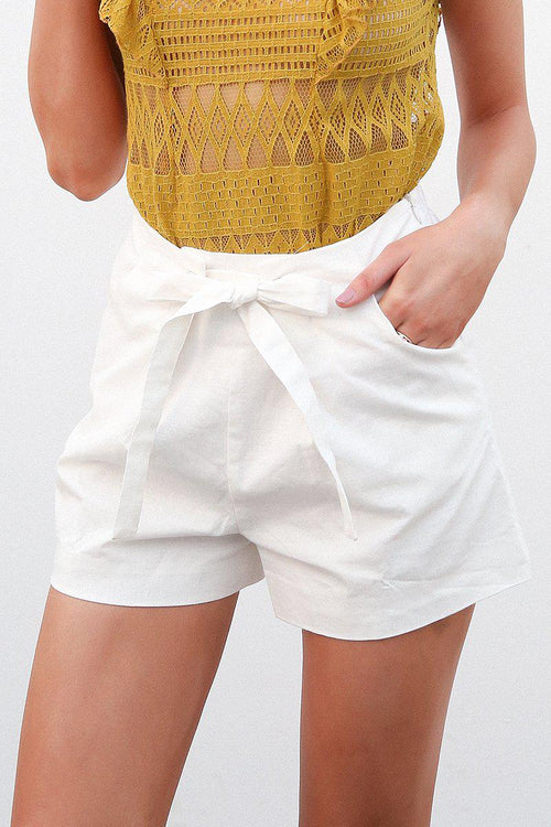 Tie Waist Tailored Shorts