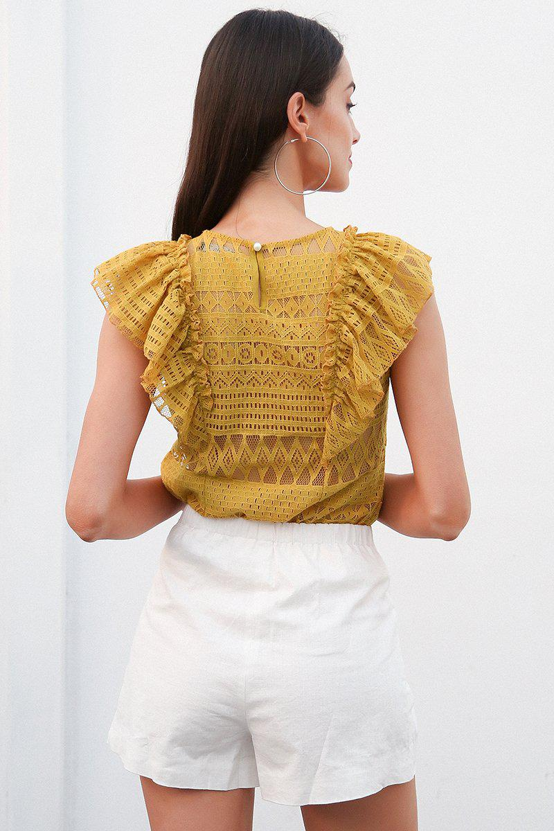Lace Front Ruffle Detail Top