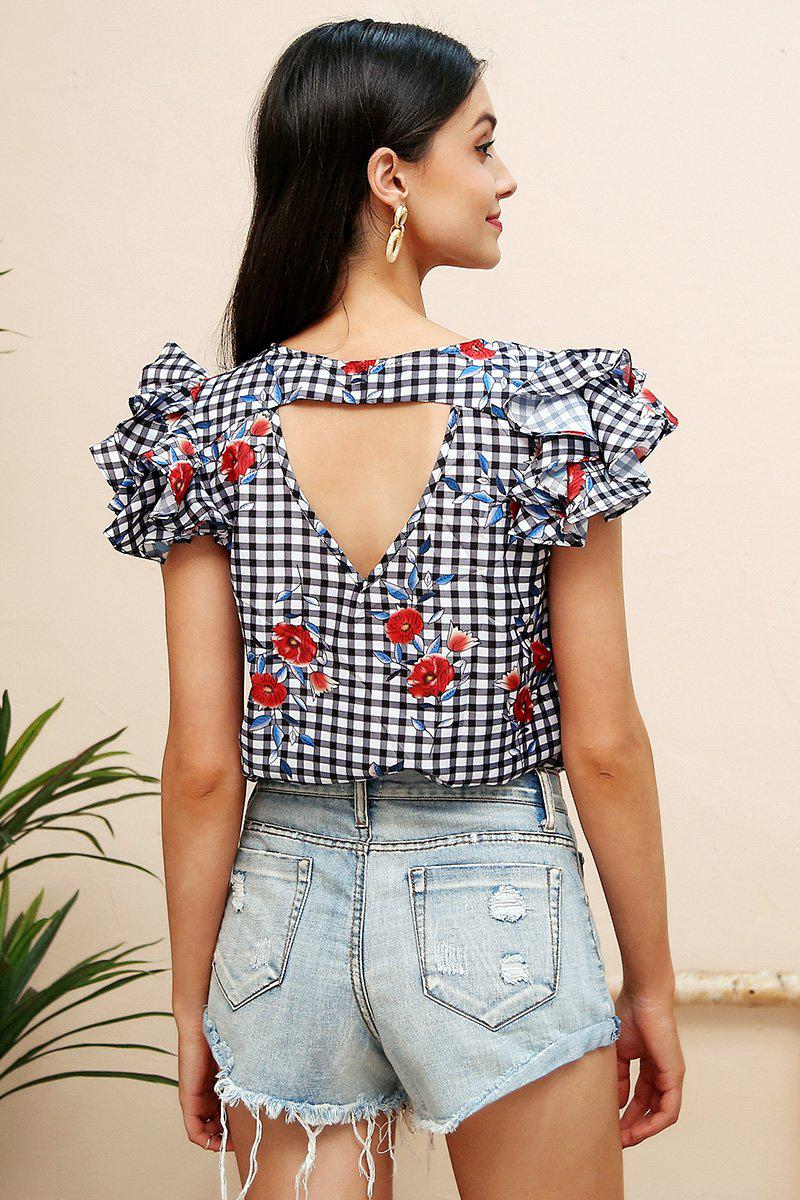 Floral Checked Top
