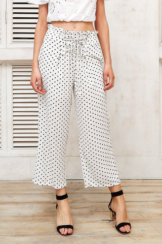 High Waist Ruffled Stripe Trousers