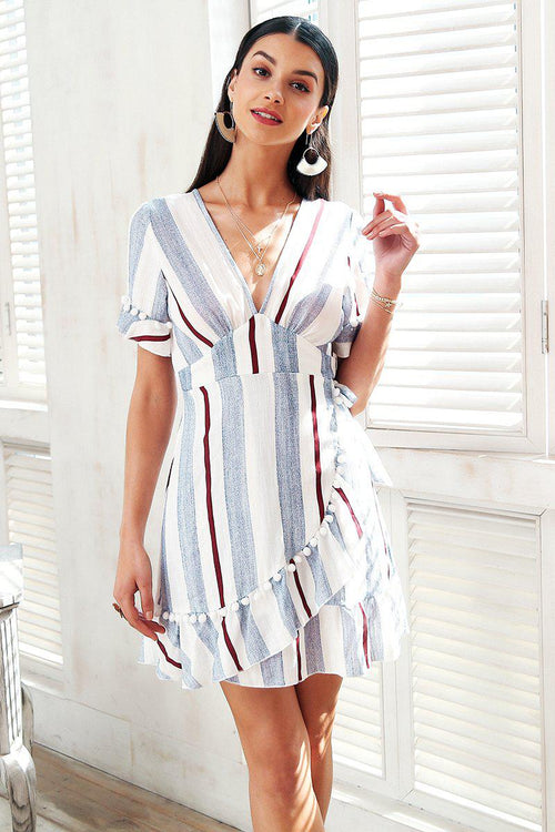 Plunge Stripe Wrap Dress