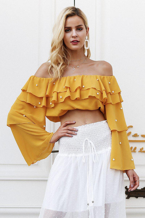 Off The Shoulder Pearl Embellishment Top