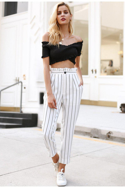 Stripe High Waist Skinny Trousers
