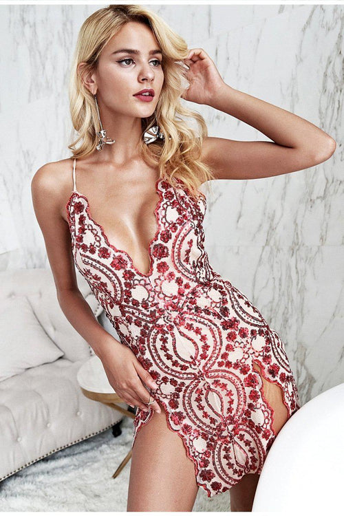 Sequin Embroidered Thigh Split Dress