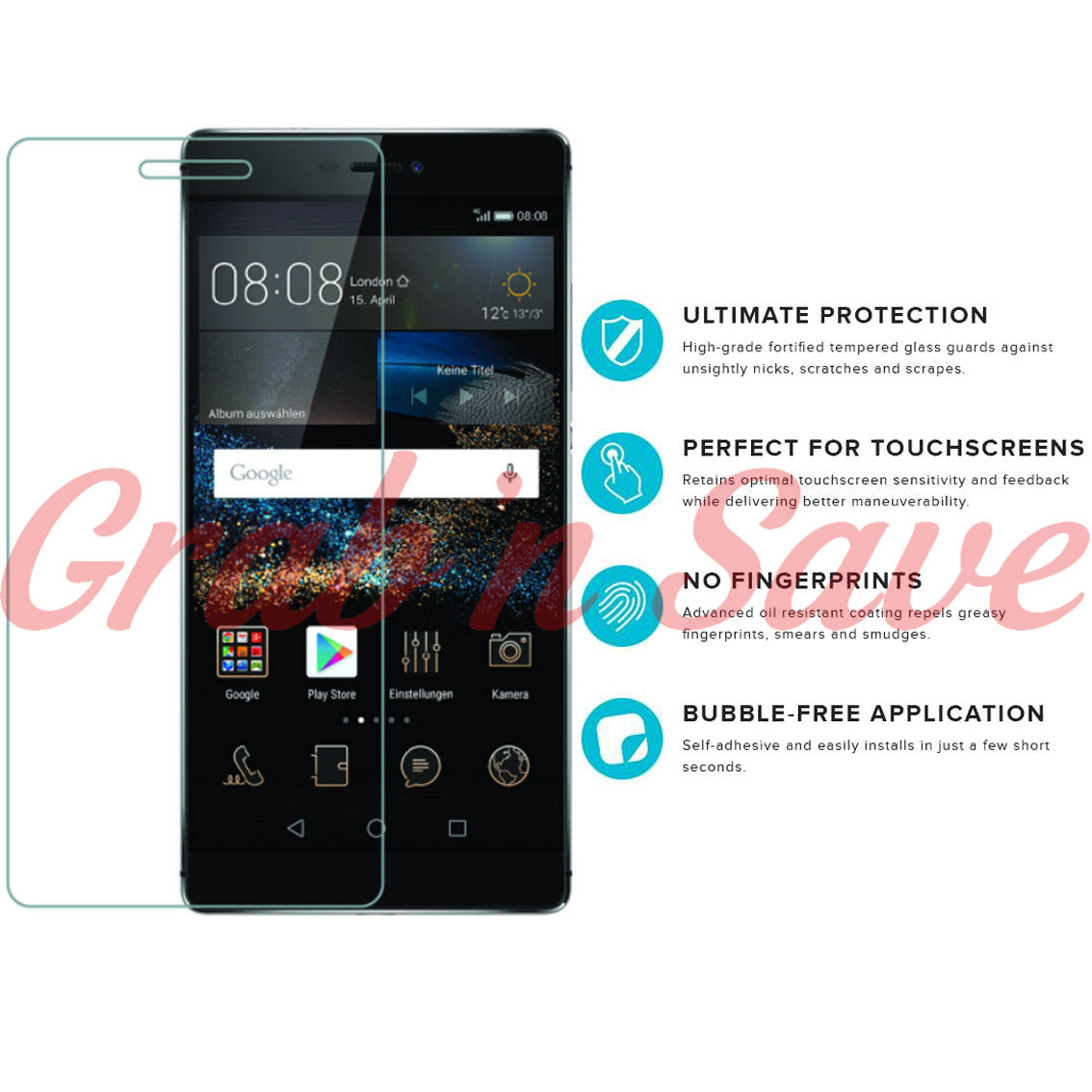 Huawei P8 Screen Protector, Glass Screen Protector, Tempered Glass Screen Protector