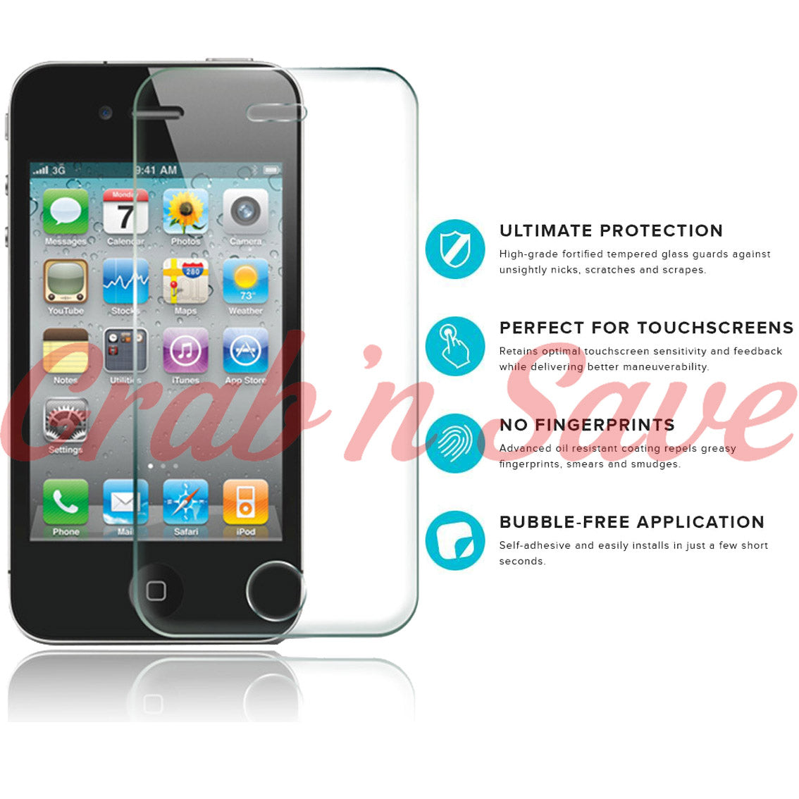 iPhone 4S Screen Protector, Glass Screen Protector, Tempered Glass Screen Protector