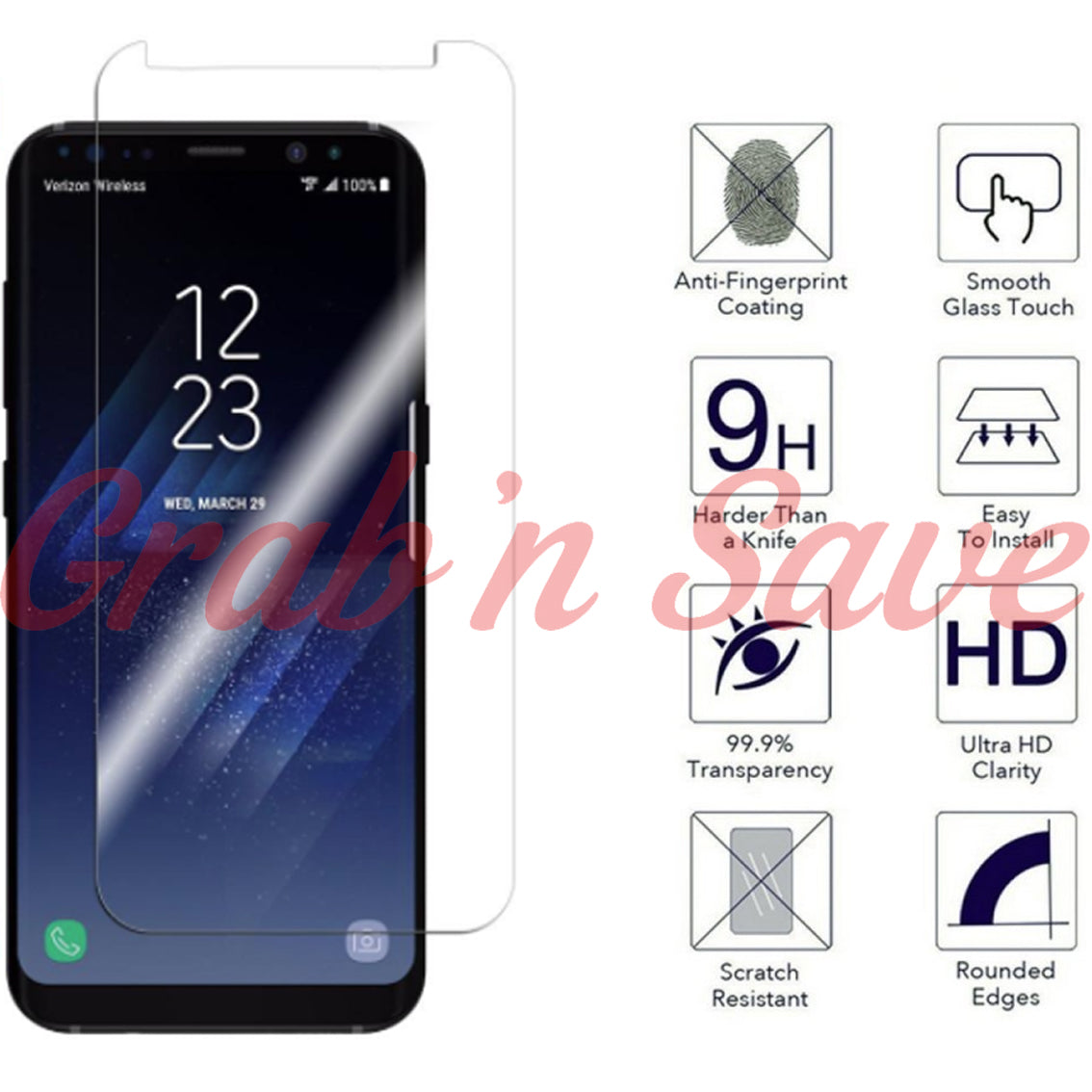 Samsung S8 Plus Screen Protector, Glass Screen Protector, Tempered Glass Screen Protector