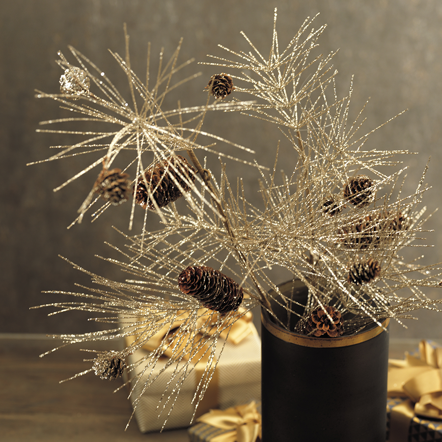Champagne Spruce and Pinecone Pick - Tall