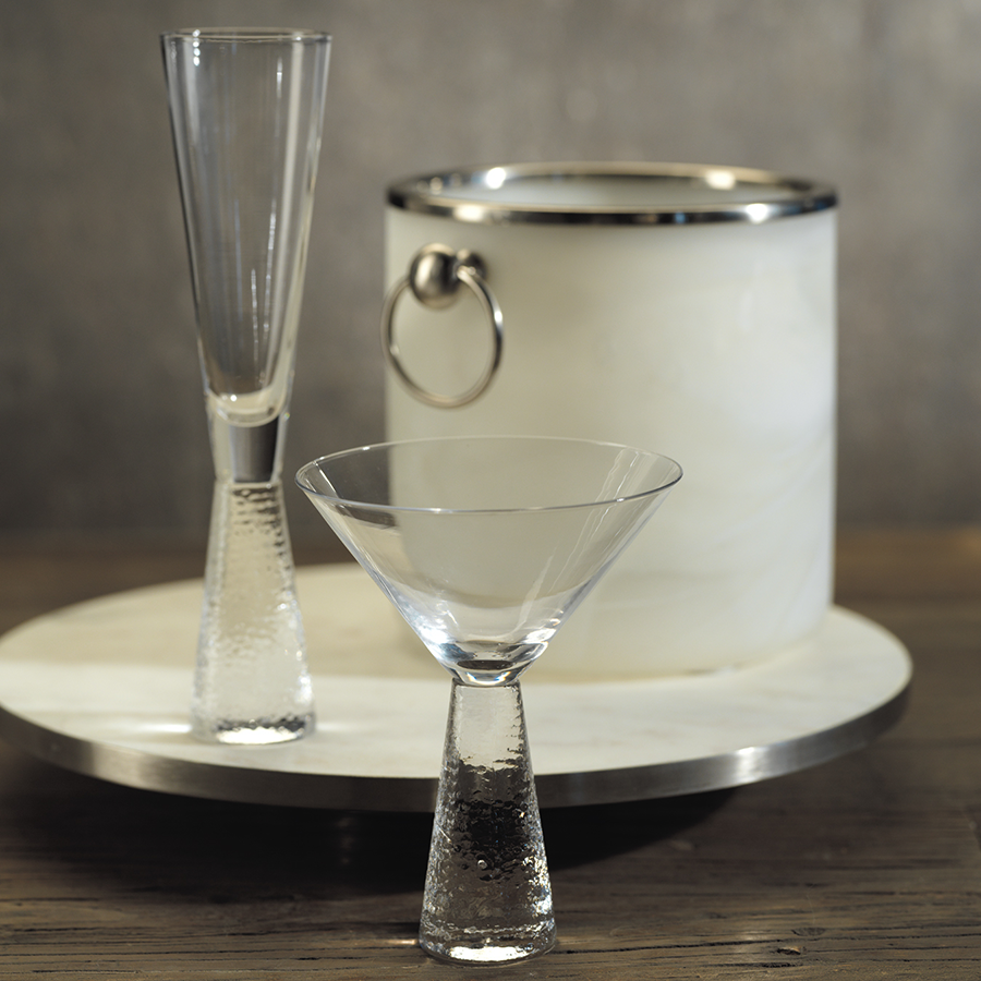 Martini Glass on Hammered Stem - Set of Two