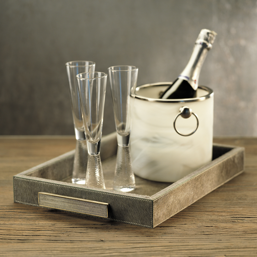 Champagne Flute on Hammered Stem - Set of Two