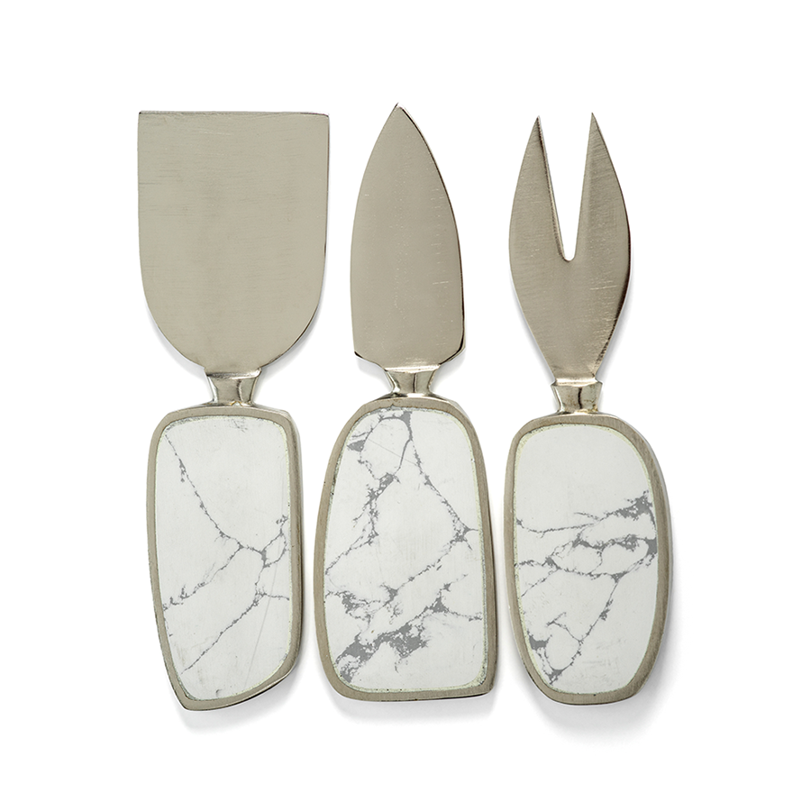 Amalfi Set of 3 Cheese Tools - White with Nickel