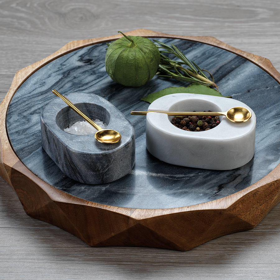 Tuscan Marble Salt and Pepper Bowl with Gold Spoon - Black