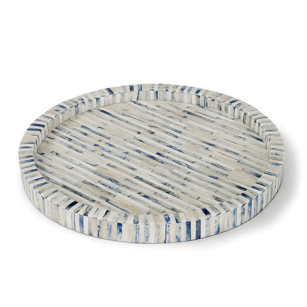 Round Bone Tray with Indigo