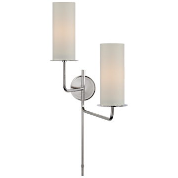 Larabee Double Swing Arm Sconce with Cream Linen Shades