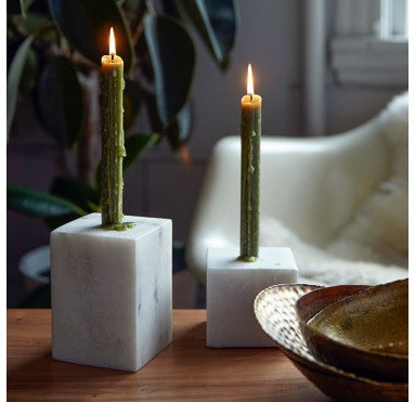 Marble Block Candle Holder set of 2