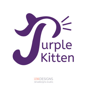 Purple Kitten logo design by Lena Designs