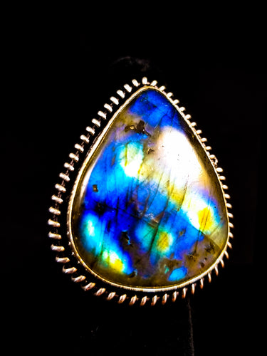 Sweet Teardrop Blue & Gold Flash Labradorite Statement Ring Size 9