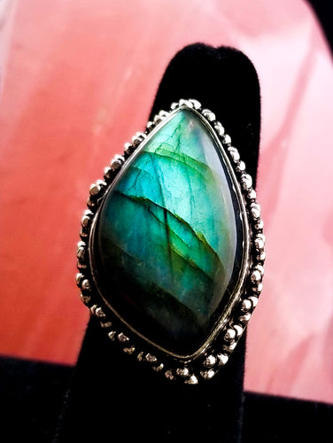 Sweet Blue-Green Flash Labradorite Statement Ring Size 8.75
