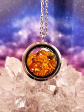 Amber Pendant || Sterling Silver || Double Sided Glass || Magnetic Closure