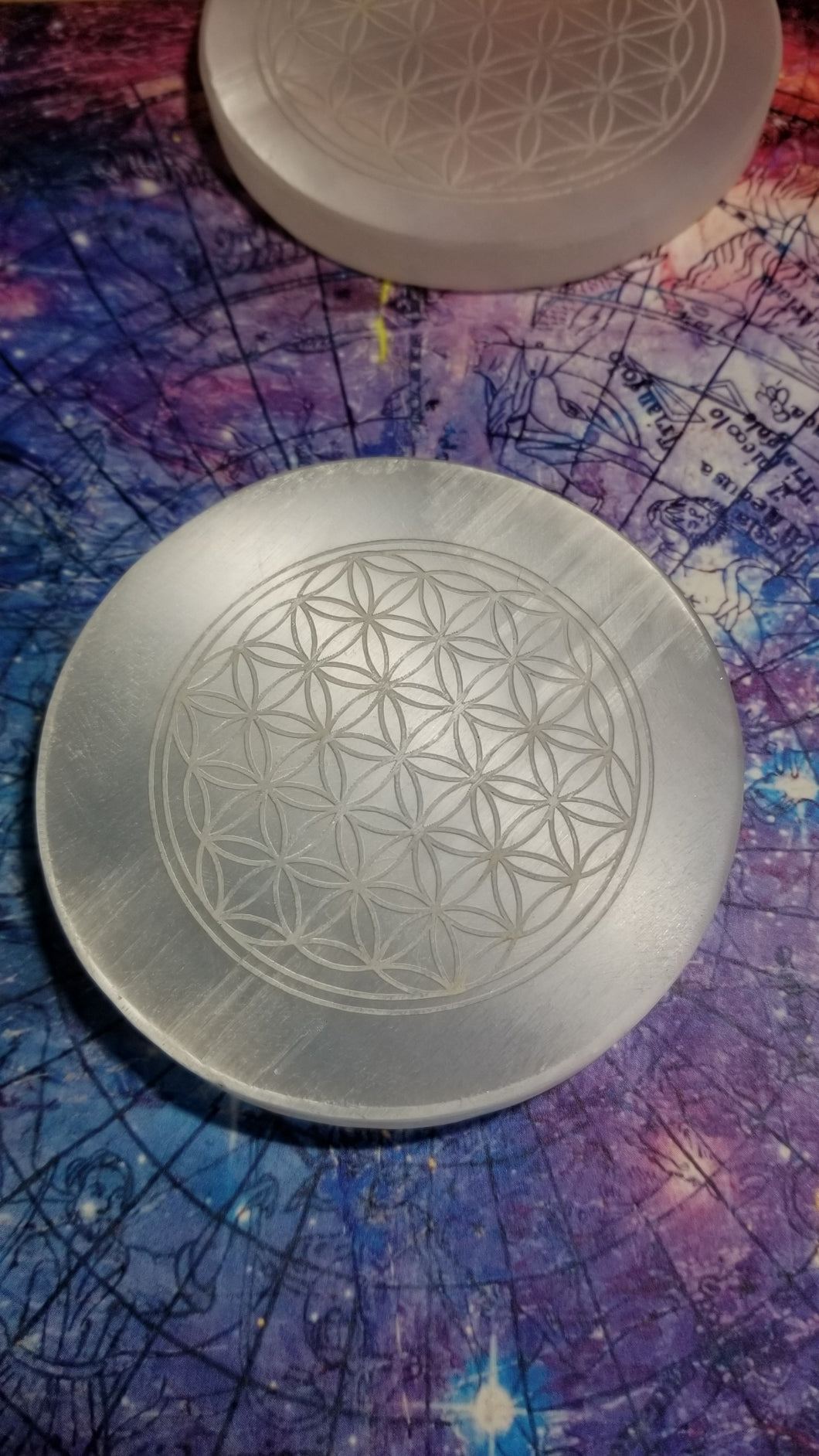 Selenite Flower of Life Charging Plates