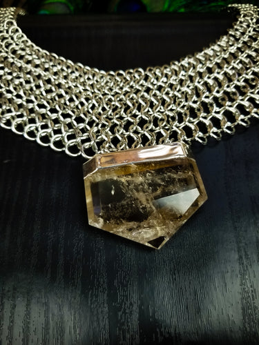 Faceted Smokey Quartz and Silver Statement Necklace || BCP Original