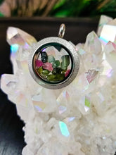 Sparkly/Silver Double Sided Rainbow Tourmaline Locket (Necklace Options)
